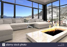 open fireplace at well designed living room area with white sofas