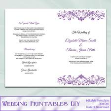 catholic wedding booklet purple wedding program booklet template diy wisteria
