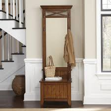 tall narrow wood entry furniture set with storage bench and tall