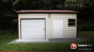 Garage With Carport 16 U0027 X 21 U0027 Vertical Style Metal Garage With Roll Up Door