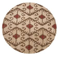 safavieh wyndham collection ivory and brown square area rug 7x7