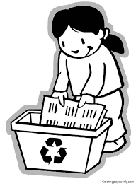 collecting paper for recycling coloring page free coloring pages
