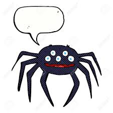 cartoon halloween spider with speech bubble royalty free cliparts
