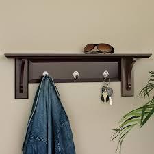 furniture dark wooden coat and key hanger using top shelf with