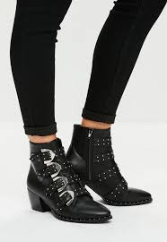 s boots buckle black four buckle ankle boots missguided
