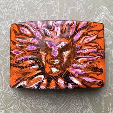 vintage abstract enamel copper buckle psychedelic sun belt buckle