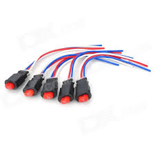 diy push button hazard light switch with wire red black 5 pcs