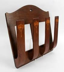 james miles arthur simpson of kendal inlaid oak paper rack circa