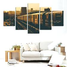 living room framed wall art living room wall art home decor living room frame canvas pictures 5 pieces retro