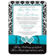 teal wedding invitations wedding invitation photo optional black and white damask