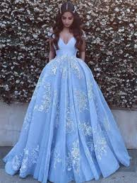 formal dresses shoulder light blue prom dress with lace applique prom gown