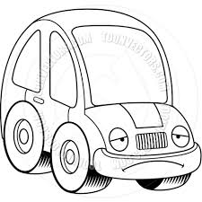 cartoon car drawing cartoon car sad black and white line art by cory thoman toon