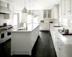 White Marble Kitchen by White Classic Kitchen With Black Slate Floor And White Pendants