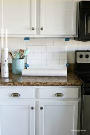 wallpaper for backsplash in kitchen faux subway tile backsplash wallpaper