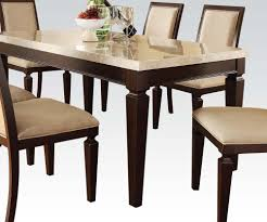acme agatha white marble top rectangular dining table in espresso