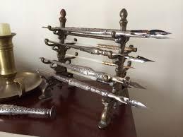 antique brass victorian pen holder antique desk items