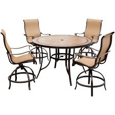 monaco 5 piece high dining bar set with four swivel bar chairs and
