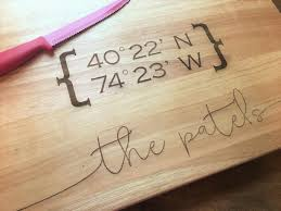 cutting board personalized large custom cutting board latitude longitude family name wooden