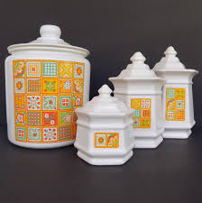 vintage 70s kitchen canisters yellow patchwork quilt glass