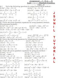 cbse math study assignment s a u20132 class x quadratic equations