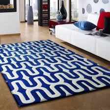 3 piece set linear design vibrant blue with white area rug