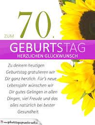 geburtstagssprüche zum 70 schlichte geburtstagskarte mit sonnenblumen zum 70 geburtstag