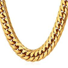 gold chunky necklace images U7 punk hip hop style men 39 s big chain 12mm wide 18k gold plated jpg