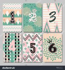 set 6 cute universal cards children stock vector 260501117