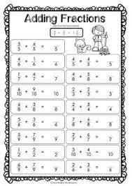 adding fractions same denominator fraction addition worksheets