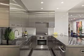 kitchen luxury interior silver stainless steel u shape modern