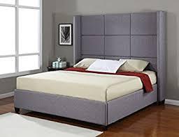 Platform Bed Frame King Size Amazon Com Jillian Grey Upholstered King Size Platform Bed Frame
