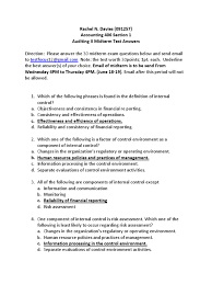 auditing ii midterm test internal audit audit
