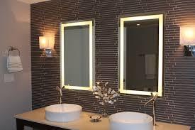 Illuminated Bathroom Mirror - corner bathroom mirror with installed lights creates a feeling of