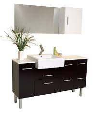 Bathroom Vanity With Side Cabinet 57 Inch Espresso Modern Bathroom Vanity With Mirror U0026 Side Cabinet