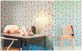 turquoise flamingo wallpaper the alley exchange