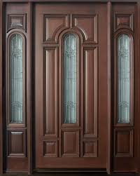 Solid Wooden Exterior Doors Front Door Custom Single With 2 Sidelites Solid Wood With