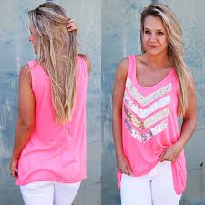neon blouse neon pink vest top summer blouse casual tank