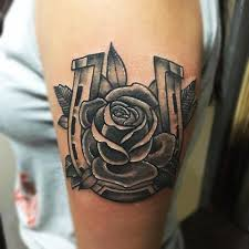 traditional horseshoe and rose by joshua nordstrom tattoos