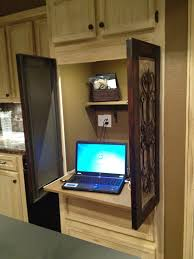 Computer Armoire With Pocket Doors by Hidden Computer Roll Out Desk In Kitchen Perfect Idea Because I