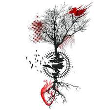 polka tree tattoo design