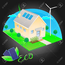 eco friendly house eco friendly house with solar energy royalty free cliparts