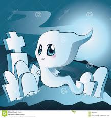 cute ghost on cemetery royalty free stock images image 34694969