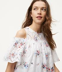cold shoulder dress floral eyelet cold shoulder dress loft