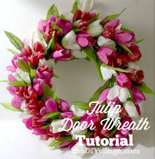 tulip wreath tulip door wreath thediyvillage