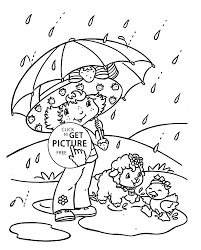 strawberry shortcake coloring pages rain printable free coloing