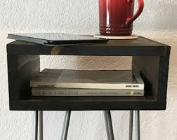 case modern side table nightstand end table mid century