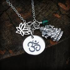 personalized sterling silver jewelry charm necklace ganesha ganesh jewelry om lotus
