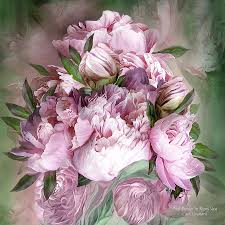 Peonies Bouquet Pink Peonies Bouquet Square Mixed Media By Carol Cavalaris
