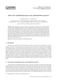 effect of pv embedded generation on the radial distribution network