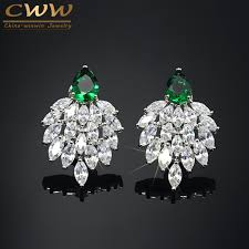 earrings brand 2016 fashion designer brand jewelry marquise white cubic zirconia